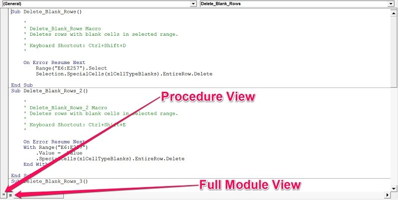Procedure View and Full Module View buttons in VBE
