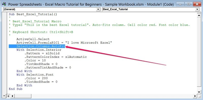 Example of Visual Basic for Applications code with auto-fit statement highlighted
