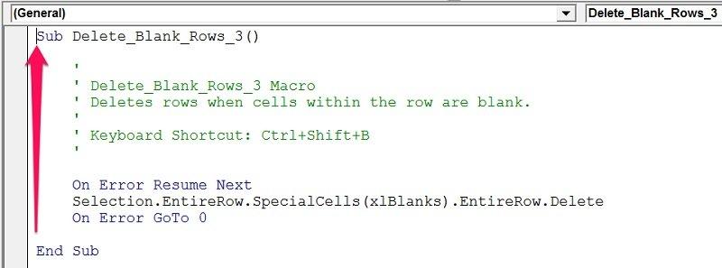 Code window of VBA Sub procedure