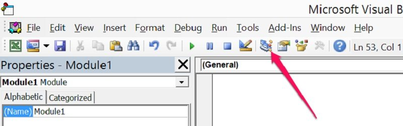 Project Explorer icon in VBE toolbar