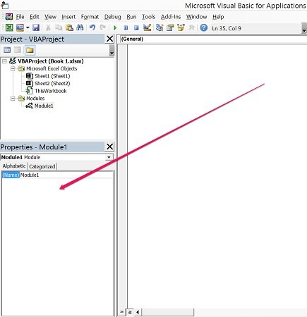 Properties Window in Visual Basic Editor