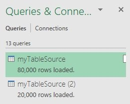 Queries & Connections task pane with appended queries