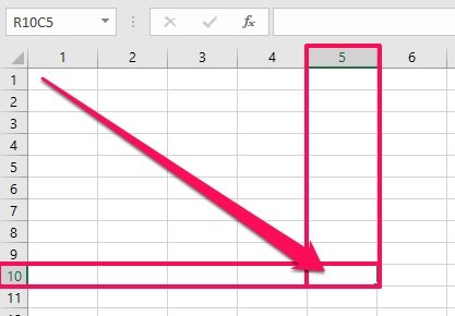 R10C5 cell in Excel