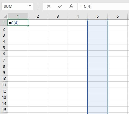Relative column R1C1-style reference