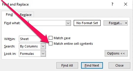 Find and Replace > Match entire cell contents