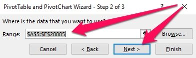 Pivot Table Wizard - Step 2 > Range, Next