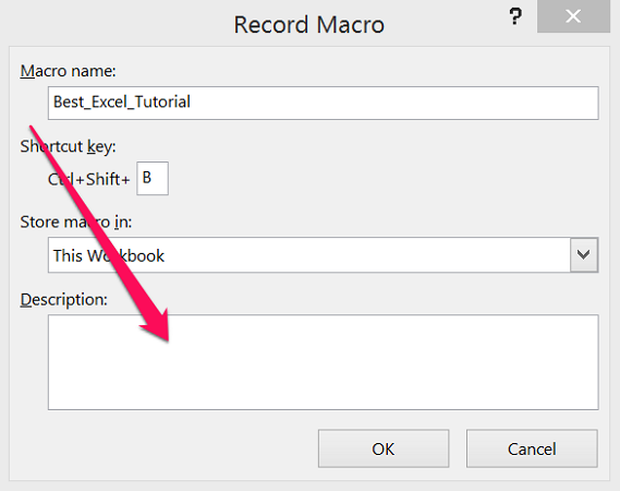 Description field in Record Macro dialog box