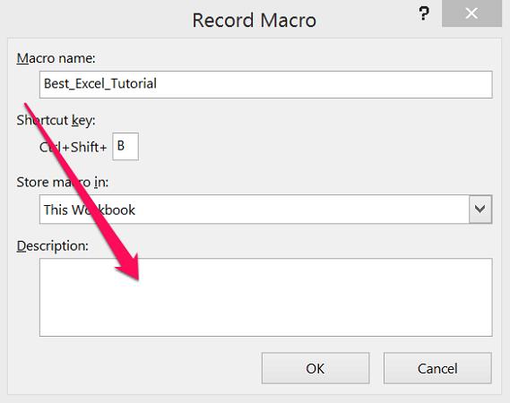 Description field in Record Macro dialog box
