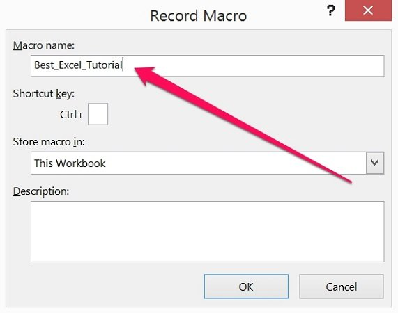 Macro name field in Record Macro dialog box