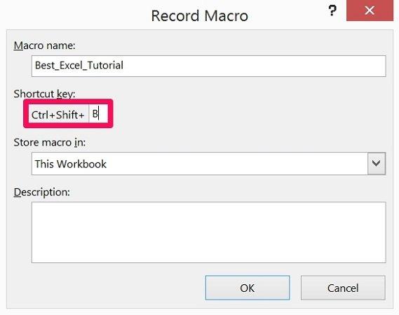 Shortcut key field in Record Macro dialog box