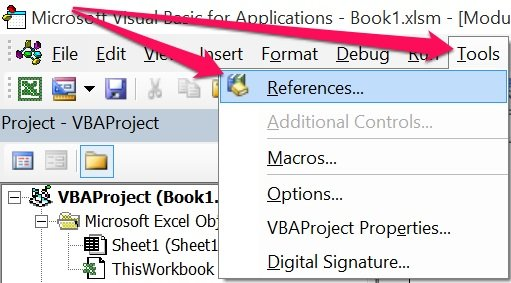 Reference a VBA Function procedure using the VBE