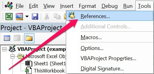 How to open References dialog in Visual Basic Editor