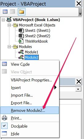 Remove a module in Visual Basic Editor