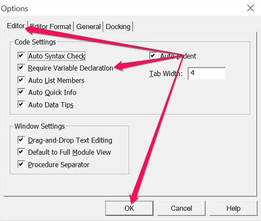 Enabling Require Variable Declaration in VBE