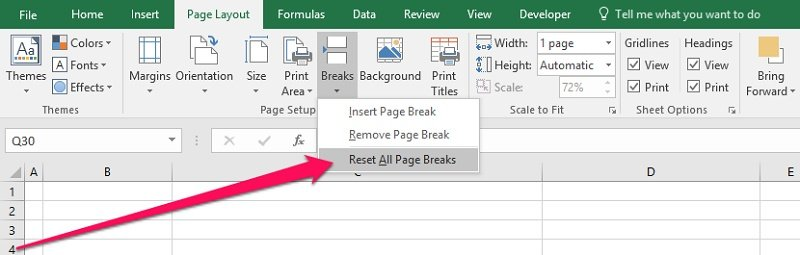 Ribbon > Breaks > Reset All Page Breaks