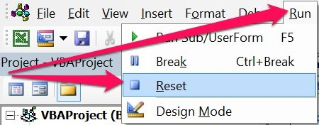 Reset button for VBA variable