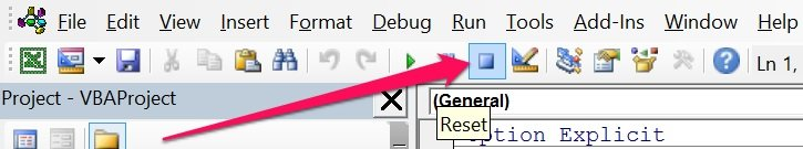 Reset button for VBA variables