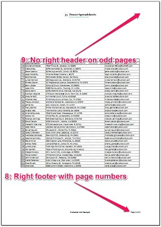 Results of setting up page and printing with macro: no header on odd pages and footer with page numbers