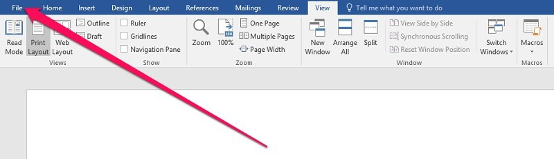 How to go to Backstage View in Word