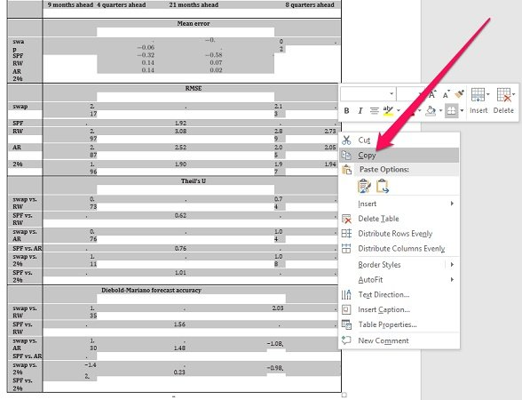Right click menu to copy PDF table in Word