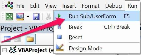 Rub Sub/UserForm in Run menu