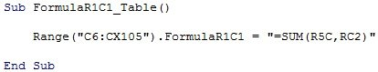 Sample macro code with FormulaR1C1