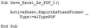 Sample VBA code to save Excel as PDF