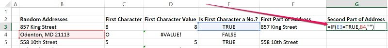 Example of syntax of IF function to get ssecond part of address
