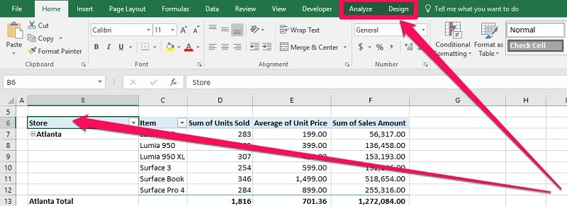 PivotTable and contextual tabs in Ribbon