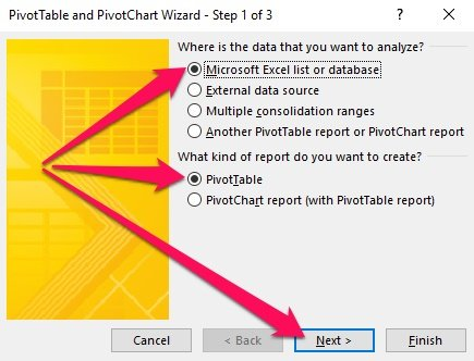 Pivot Table Wizard - Step 1 and Where is the data, What kind of report, Next