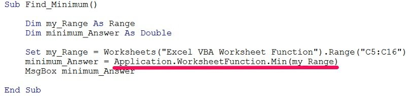 VBA code example using worksheet function