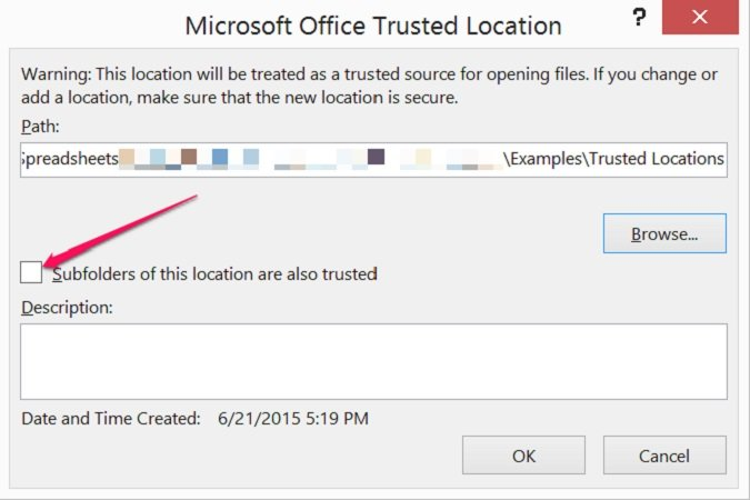 How to trust subfolders of location in Excel
