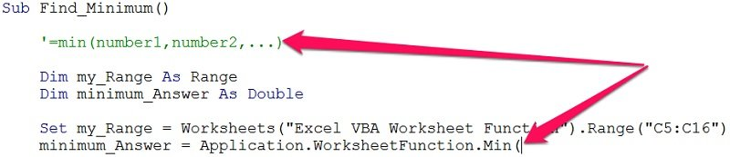 Excel worksheet function syntax guidance in VBA