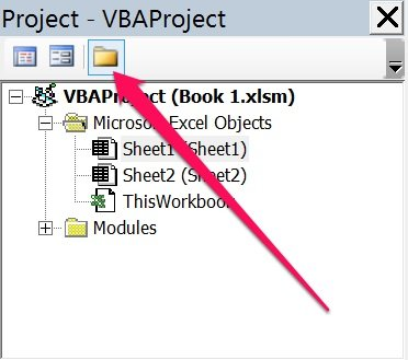 Toggle Folders button in Visual Basic Editor