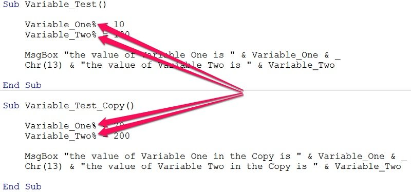 Define Variables In Vba Declare Variables And Assign Them