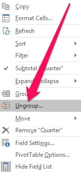 Context menu and Ungroup