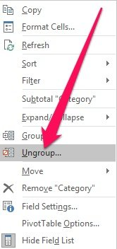 Right-click menu and Ungroup