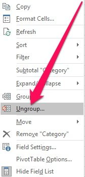 Group contextual menu > Ungroup