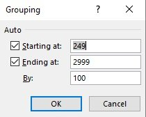 Grouping dialog box for value/numeric Fields