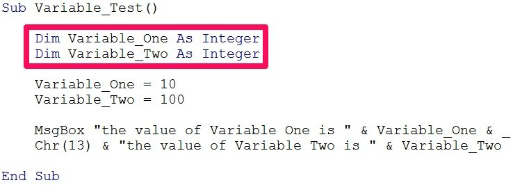 Worksheets Vba Sample Declaration Of Multiple Choice Worksheet Pdf define variables in vba declare and assign them expressions declared code example