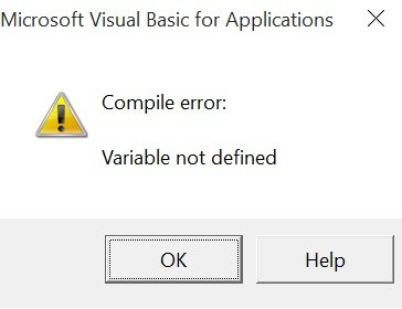 Error message for undeclared variable