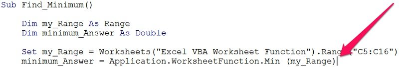 Example of macro after entering worksheet function name