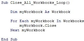 For Each... Next Loop and myWorkbook.Close