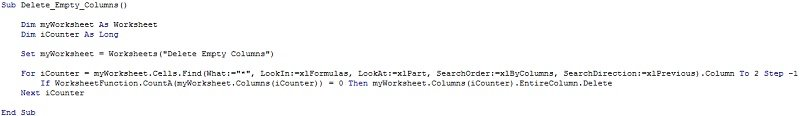 If WorksheetFunction.CountA(myWorksheet.Columns(iCounter)) = 0 Then myWorksheet.Columns(iCounter).EntireColumn.Delete