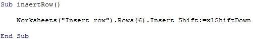 Worksheets.Rows.Insert Shift:=xlShiftDown