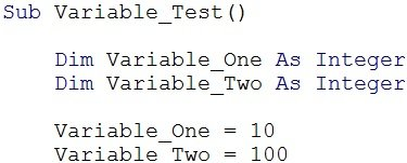 Section of VBA code before declaring variable