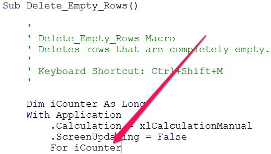Example of VBA variable typing shortcut