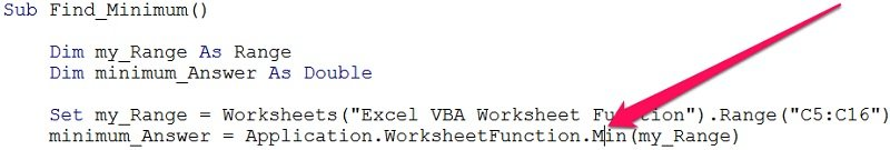 Cursor over name of worksheet function in VBE