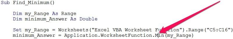 Cursor over name of worksheet function in VBE
