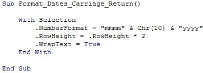VBA code formats dates with carriage return